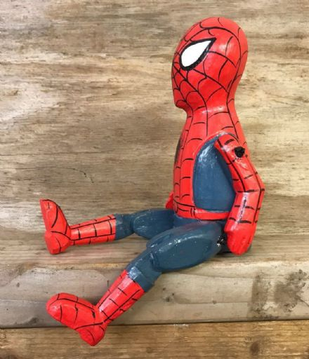 Spiderman Comic Book Hero Puppet Hand Carved Wooden Sitting Ornament - SMALL